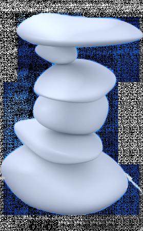 sechs Steine aufeinander balancierend