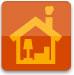 Symbol für Unterstützes Wohnen: gelboranges Haus mit Sessel und Stehlampe vor orangerotem Hintergrund
